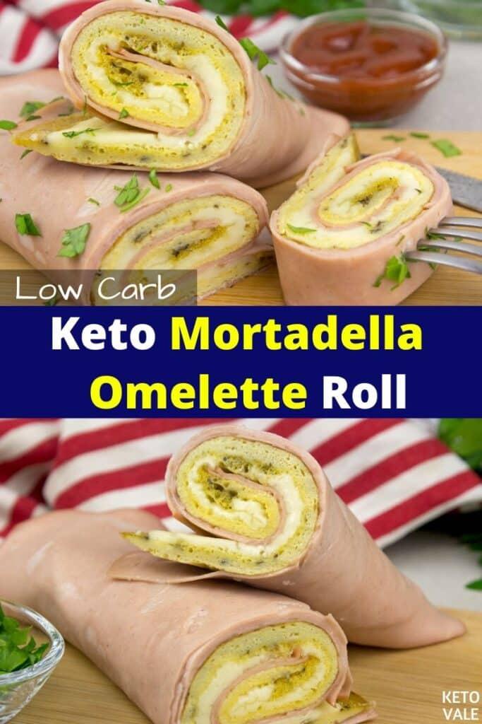 keto mortadella omelette roll