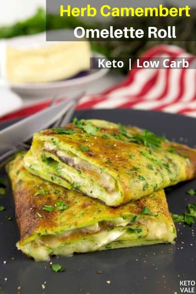 low carb herb camembert omelette roll