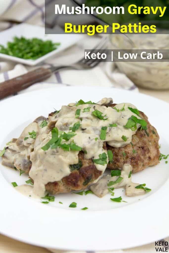 low carb mushroom gravy burger patties