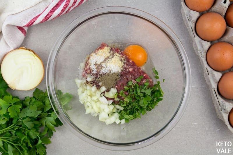 mix meat onion egg garlic