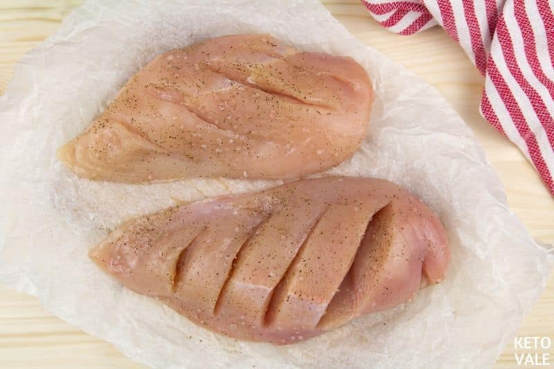 slice deep cuts chicken breast