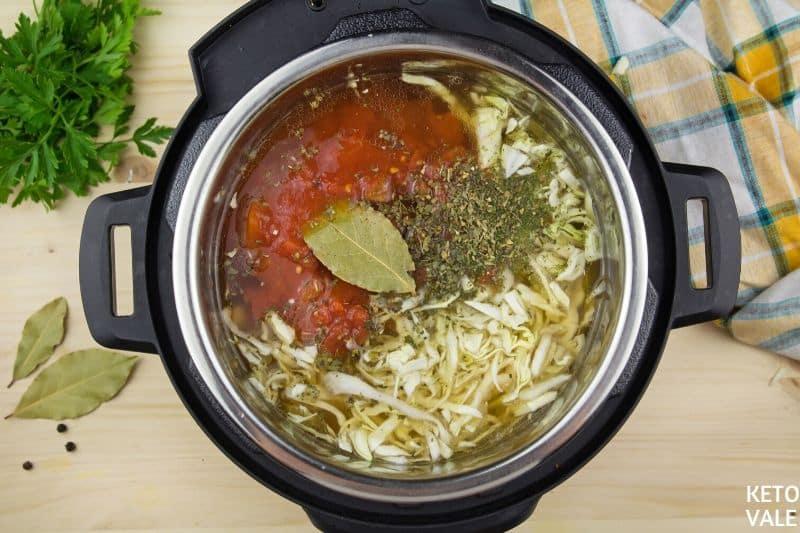 add diced tomato bay leaf