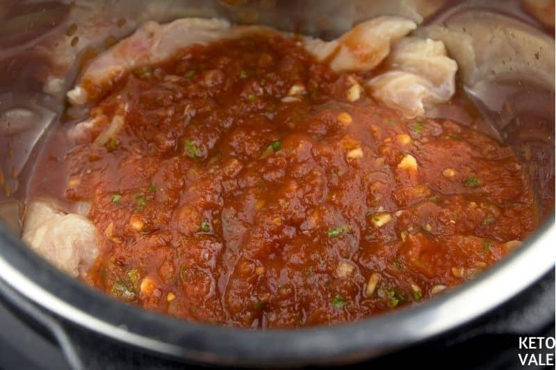 pour salsa over chicken