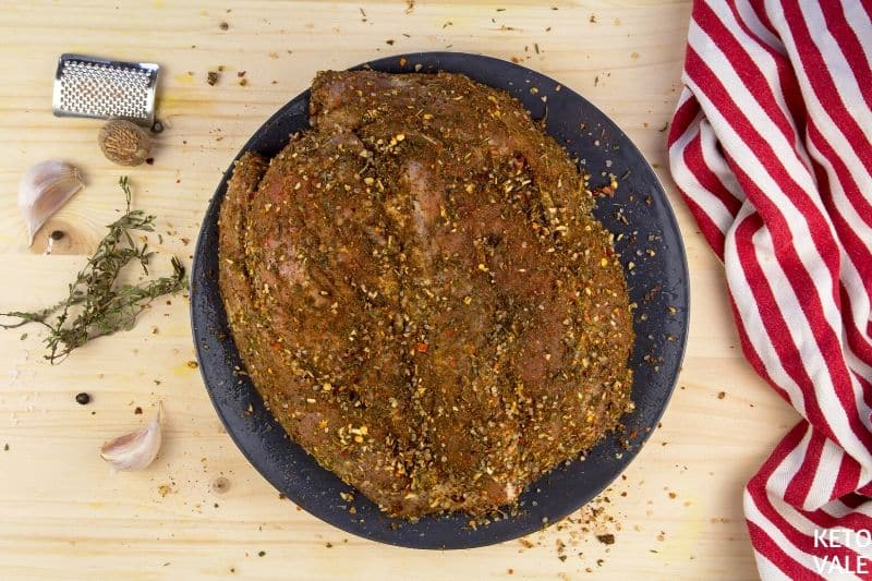 rub pork shoulder with spices