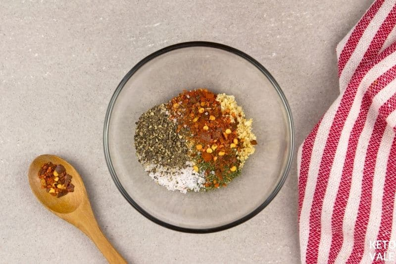 combine dry spices for ribs