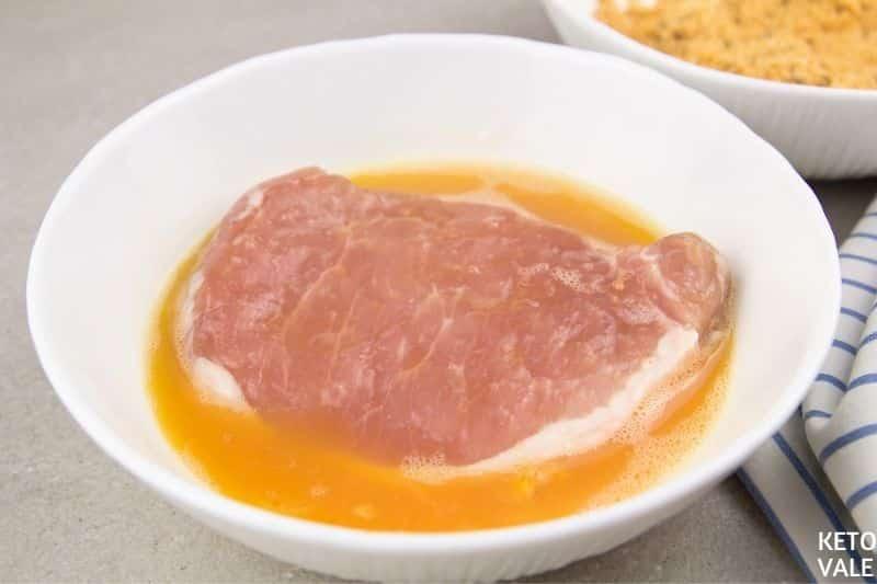 dip pork chops in egg