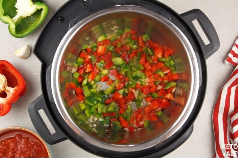 saute onion pepper